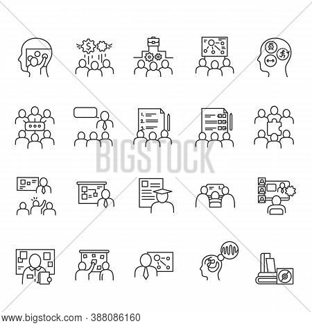 Training Workshop Elements Line Icons Set. Motivational And Educational, Lectures, Lessons, Courses.
