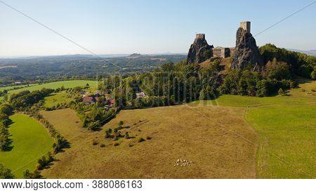 Ancient Ruins Of The Castle Trosky In Cesky Raj, Czech Republic, Landscape Panorama, Old Mediaval Fo