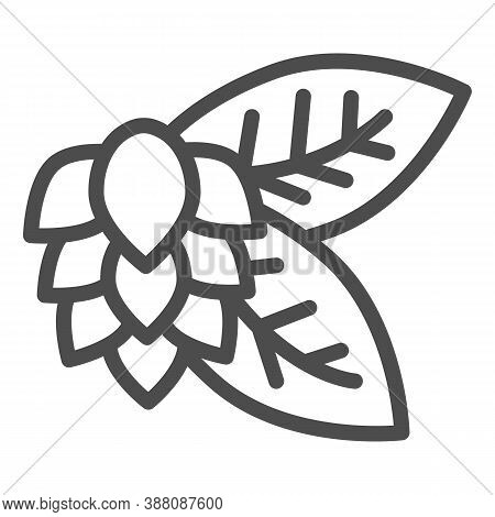 Leaves And Hops Line Icon, Craft Beer Concept, Beer Hop Sign On White Background, Hops Plant Icon In