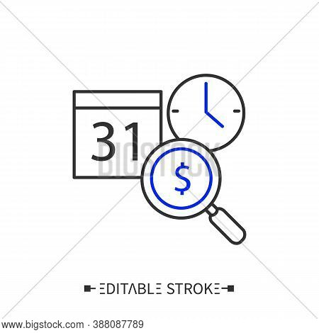 Cost Analysis Line Icon. Estimation Of Cost, Timing And Profitability. Financial Control. Informatio