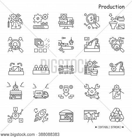 Production Line Icons Set. Industry Icons. Production Processes. Drafting, Packing, Shipping, Tradin