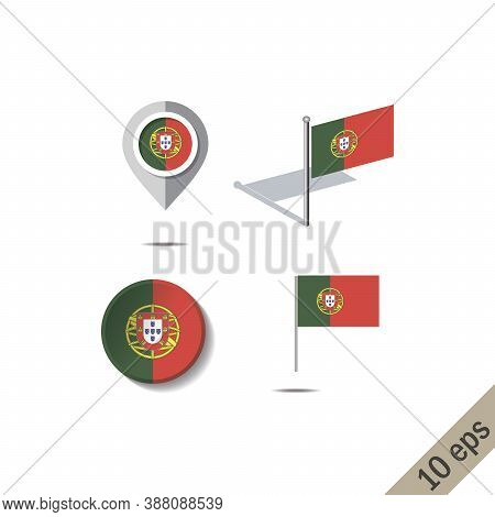 Map Pins With Flag Of Portugal - Vector Illustration