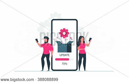 App Installation And Update By Man And Woman Via Phone. People And Mobile Application Concept Vector