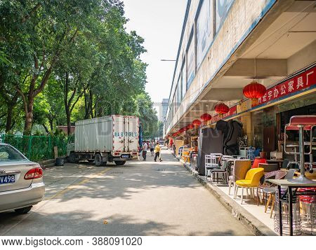 Guangzhou/china-24 Aug 2019:unacquainted People Walking On Furniture Wholesale Marke At Guangzhou Ch