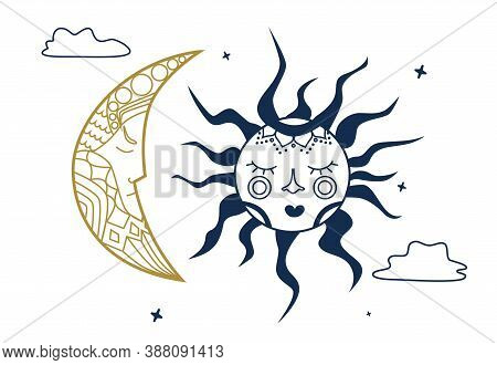 Celestial Illustration For Astrology, Divination, Magic. The Device Of The Universe, Crescent Moon A