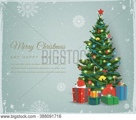 Christmas Tree With Decorations And Gift Boxes. Holiday Background. Merry Christmas And Happy New Ye
