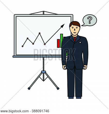 Clerk Near Analytics Stand Icon. Editable Outline With Color Fill Design. Vector Illustration.