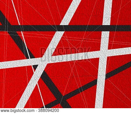 A Red Background With Black And White Criss Cross Items.