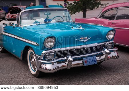 Toronto, Canada - 08 18 2018: Gorgeous Blue 1956 Chevrolet Bel Air Convertible Oldtimer Car On Displ