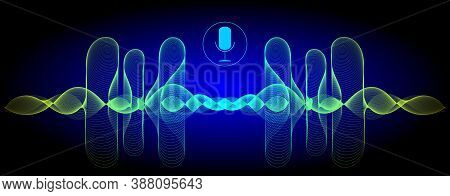 Voice Recognition With A Microphone And Glossy Soundwaves - Illustration