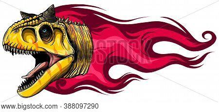 Vector Illustration Carnosaur With Flame. Design Art