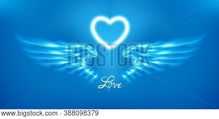White Angel Wings And Heart On Blue Background. Glowing Fantasy, Valentines Day Attribute. Inscripti
