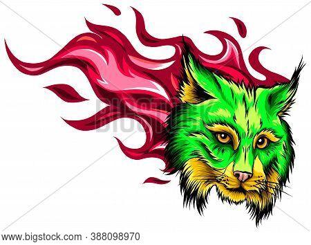 Cartoon Illustration Of The Head Of A Snarling Bobcat Facing Forwards Baring Its Teeth And Staring B