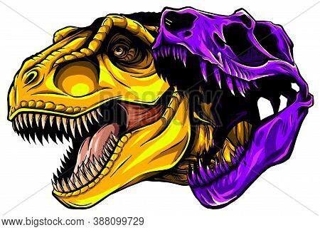 Cartoon T-rex Who Was Very Angry, Staring And Grinning Vector