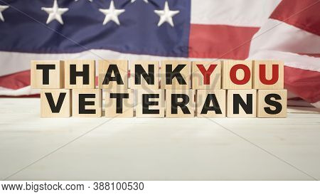 Beautiful Greeting Card On Veterans Day. Top View, Close-up, Isolated Background