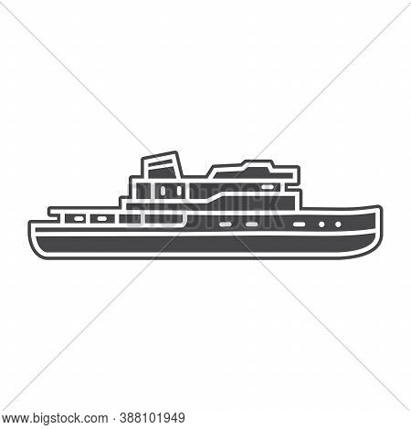 Steamboat Yacht Ship Icon Flat Style Vector.nautical Marine Vessel.