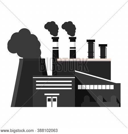 Industrial Factory Black Silhouette Icon.chimney Plant Building Facade.