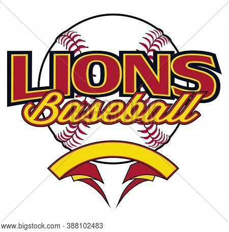 Lions Baseball Design With Banner And Ball Is A Team Design Template That Includes A Softball Graphi
