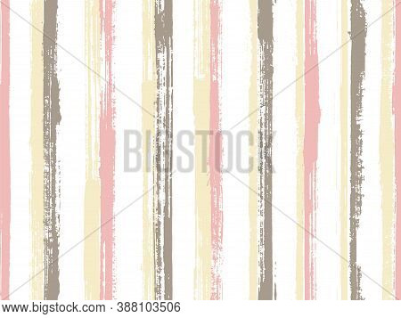 Ink Thin Grunge Stripes Vector Seamless Pattern. Cute Maritime Shirt Textile Design. Vintage Texture