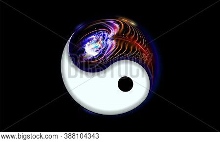 Yin And Yang Button, Icon Isolated On Black Background Decorated Luminescence Peacock Feather. Spiri