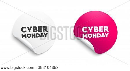 Cyber Monday Sale. Round Sticker With Offer Message. Special Offer Price Sign. Advertising Discounts