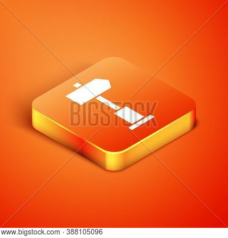Isometric Road Traffic Sign. Signpost Icon Isolated On Orange Background. Pointer Symbol. Street Inf