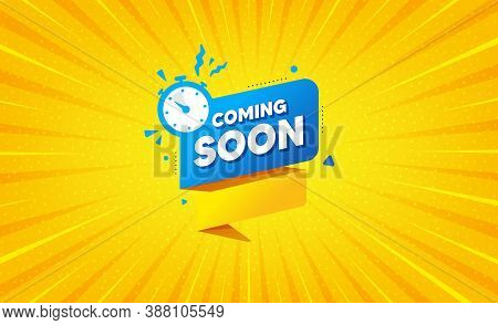 Coming Soon Paper Banner. Yellow Background With Offer Message. Timer Announcement Tag. New Open Tim