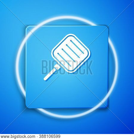 White Frying Pan Icon Isolated On Blue Background. Fry Or Roast Food Symbol. Blue Square Button. Vec