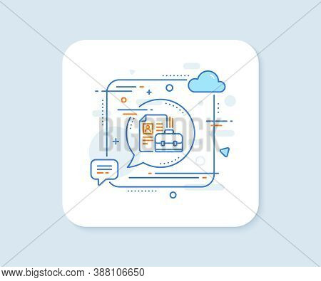Business Case With Cv Line Icon. Abstract Square Vector Button. Portfolio Symbol. Vacancy Or Hiring