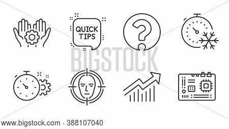 Motherboard, Demand Curve And Question Mark Line Icons Set. Freezing Timer, Face Detect And Cogwheel
