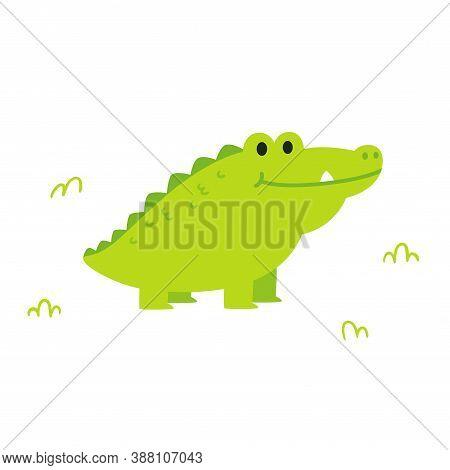 Cute Cartoon Chubby Alligator Or Crocodile In Simple Flat Cartoon Style. Funny Clip Art Illustration