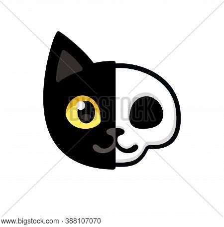 Cartoon Black Cat Head With Half Skull, Cute Schrodinger's Cat Illustration, Half Dead And Alive. Fu
