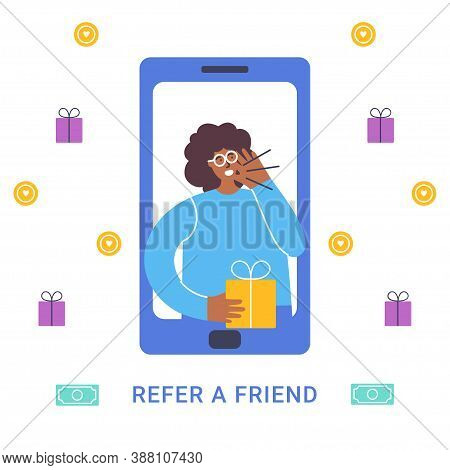 Refer A Friend Concept. Attract Friend. Dark Skinned Girl Attract People From The Phone With Present