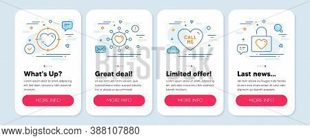 Set Of Love Icons, Such As Dating Network, Heart Target, Call Me Symbols. Mobile App Mockup Banners.