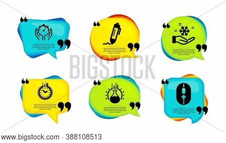 Time, Signature And Timer Icons Simple Set. Speech Bubble With Quotes. Freezing, Chemistry Experimen