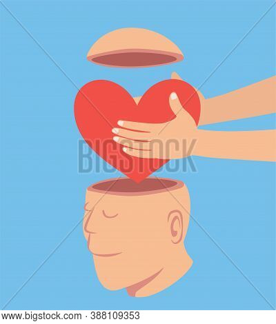 Man Putting A Red Heart To The Open Head Man, Idea Concept Cartoon Isolated On Blue Background Vecto