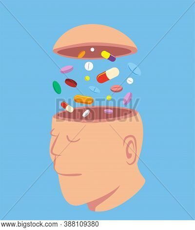Man With A Lot Of Pills In His Open Head, Idea Concept Cartoon Isolated On Blue Background Vector Il