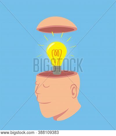 Man With Bright Light Bulb In His Open Head, Idea Concept Cartoon Isolated On Blue Background Vector