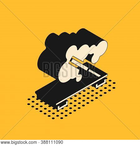Isometric Scented Spa Stick On A Wooden Stand Icon Isolated On Yellow Background. Incense Stick. Cos
