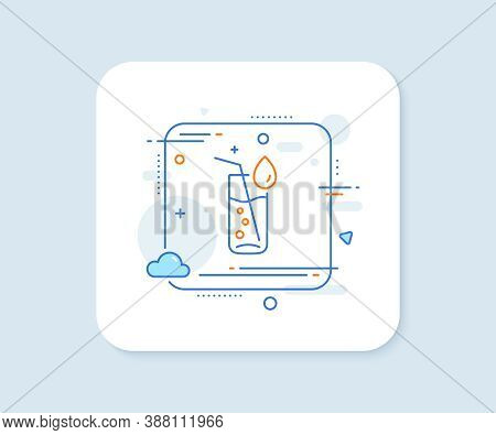 Water Glass Line Icon. Abstract Square Vector Button. Soda Aqua Drink Sign. Drop Symbol. Water Glass