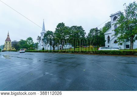 View Of The 3 Churches (united Church, St. John Lutheran Church, And Anglican Church) In Mahone Bay,