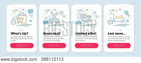 Set Of Line Icons, Such As Sale Bags, Scissors, Online Survey Symbols. Mobile Screen Mockup Banners.