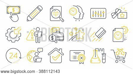 Set Of Technology Icons, Such As Credit Card, Project Deadline, Pencil Symbols. Dj Controller, Cross