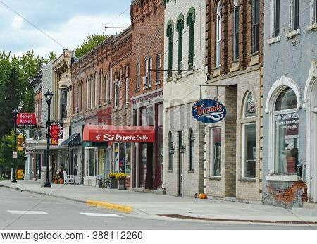 Chatfield, Mn/usa - October 3, 2020. An Image Of Main Street With Small Businesses Portrays A Typica