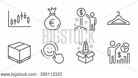 Smile, Delivery Box And Income Money Line Icons Set. Money Bag, Startup And Cloakroom Signs. Seo Sta