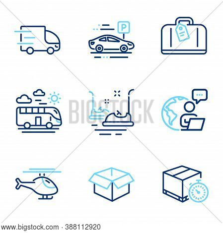 Transportation Icons Set. Included Icon As Bumper Cars, Helicopter, Delivery Timer Signs. Hand Bagga