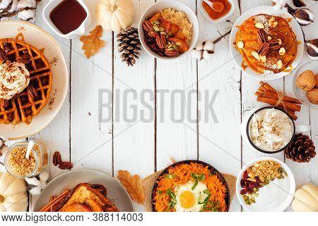 Autumn Breakfast Or Brunch Buffet Frame Against A White Wood Banner Background. Pumpkin Spice Pancak