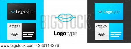 Blue Line Smiling Lips Icon Isolated On White Background. Smile Symbol. Logo Design Template Element