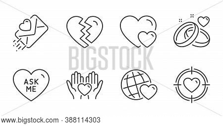 Ask Me, Marriage Rings And Love Letter Line Icons Set. Hearts, Break Up And Valentine Target Signs.