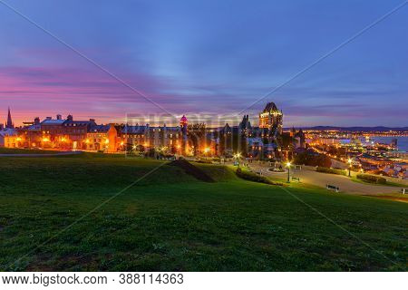 Sunset View Of The Old Town And The Saint Lawrence River From The Citadel, Quebec City, Quebec, Cana